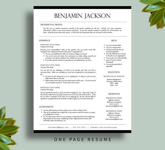 Professional Resume Template for Word \ Pages, Resume Cover Letter - pages resume template