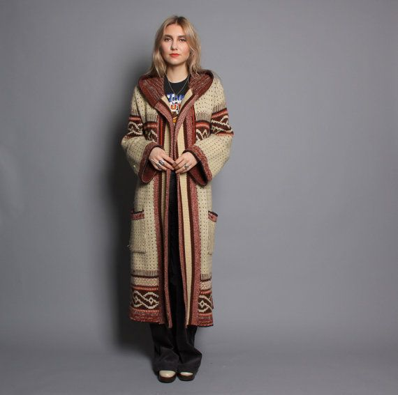 70s SWEATER COAT / SW Native Hooded Cardigan Jacket | Maxi coat ...