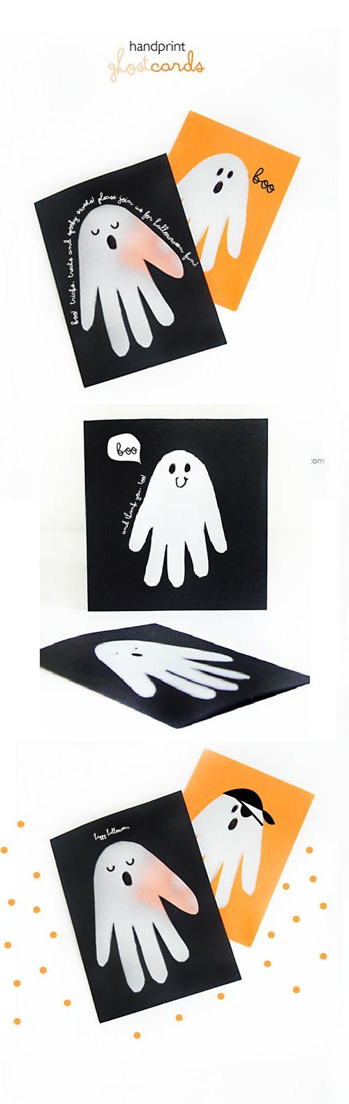Halloween Cards   Make Transparent Handprint Ghost Cards   http://www.willowday.net/2014/10/handprint-ghost-cards/ willowday