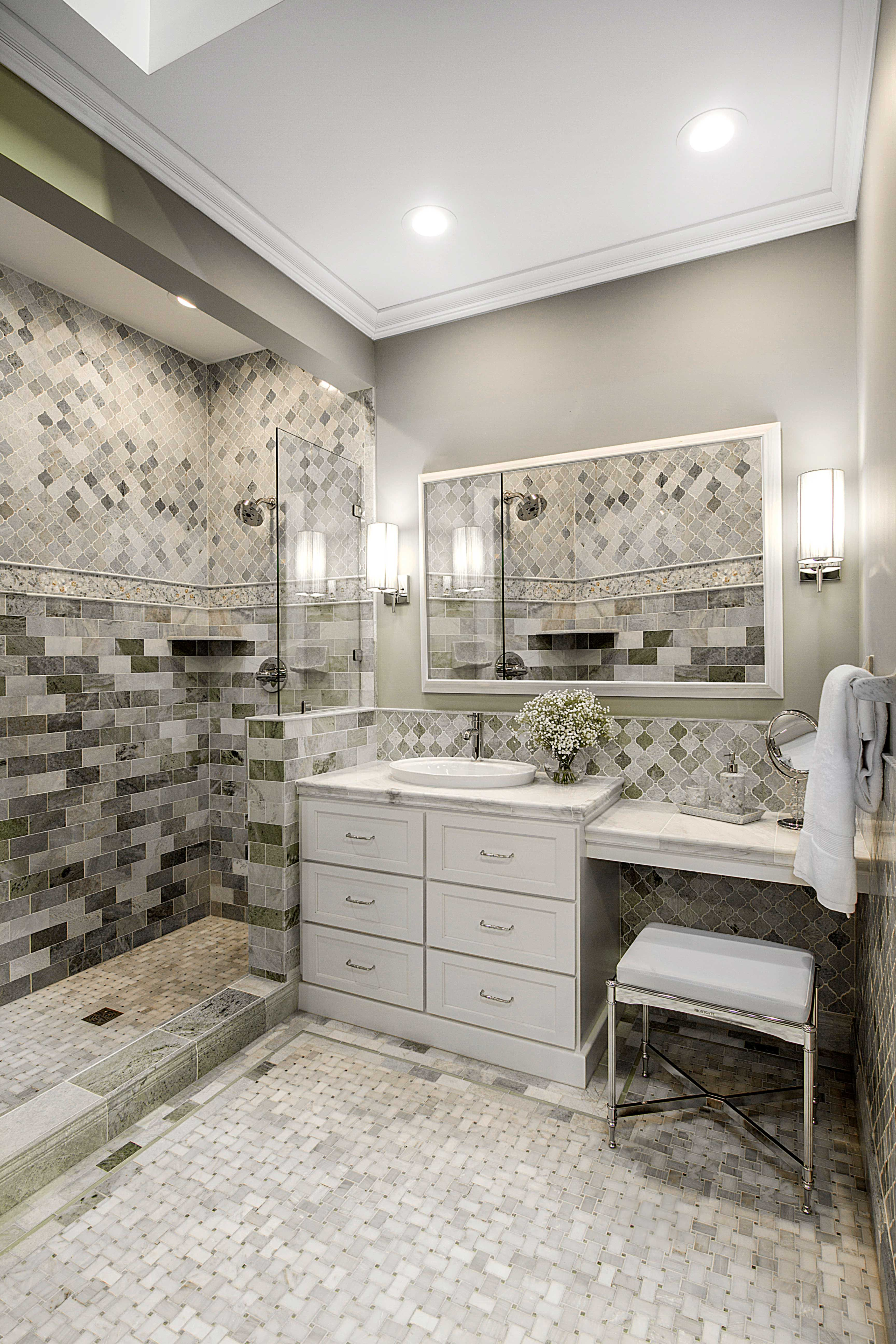 Bathroom shower marble tile cappuccino niles with dark emperador basketweave design bathroom floor tile biltmore niles marble mosaic tile httpswww dailygadgetfo Images