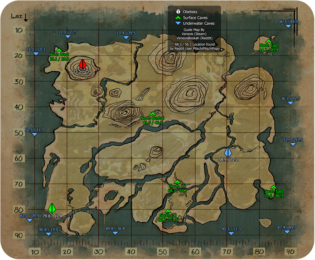 Caves - ARK: Survival Evolved: Below you will find a map for the