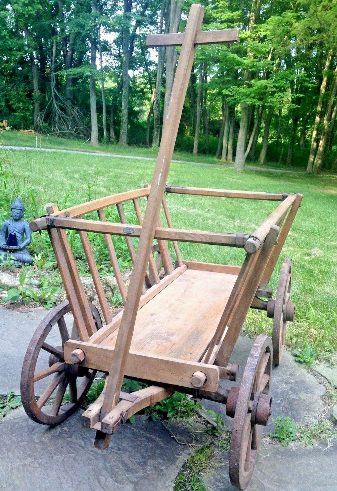 Antique Primitive Goat Cart Buggy Farm Carriage Hay Spoke Wheels Hand  Crafted | EBay