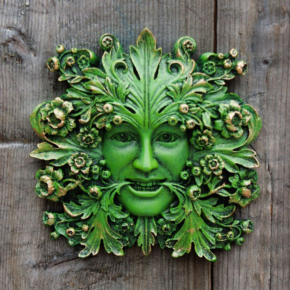 Primavera GreenMan Garden Ornament Figurine Wall Plaque Leaf Gift Lawrence 09061