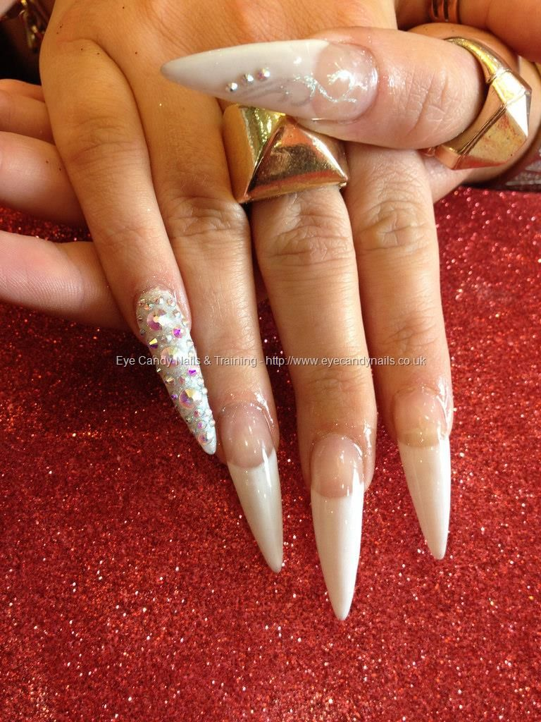 Embellished french tip stiletto nails | Nail designs | Pinterest ...