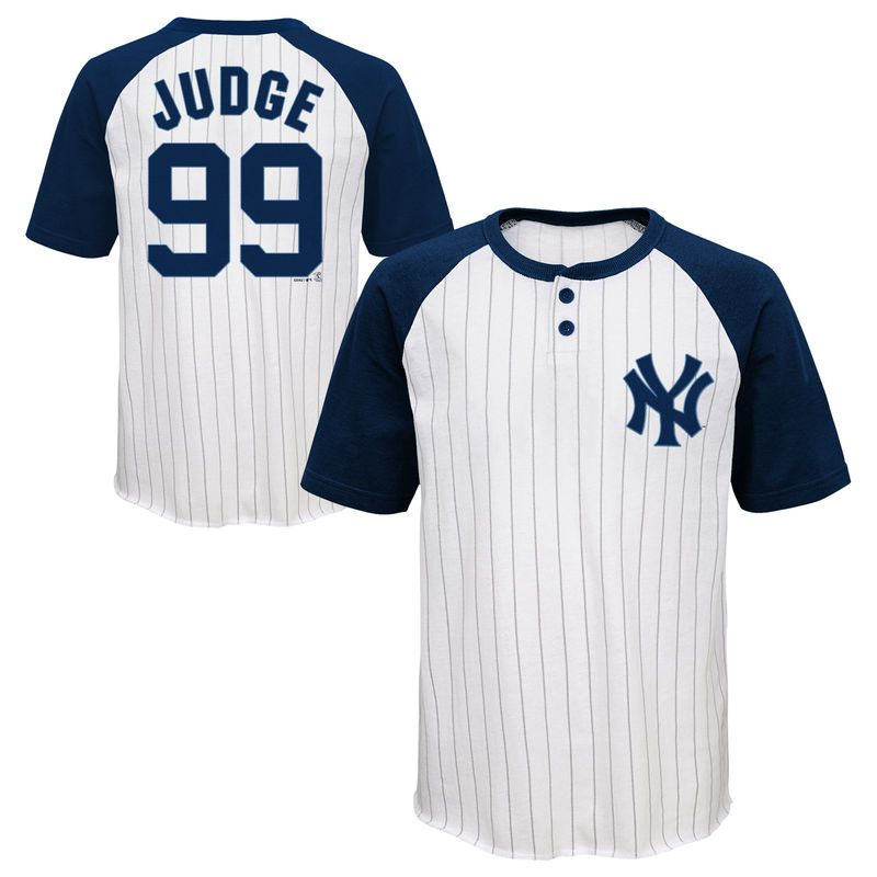 af61e690 Aaron Judge New York Yankees Majestic Youth Game Day Pinstripe Name &  Number Henley T-Shirt - White/Navy