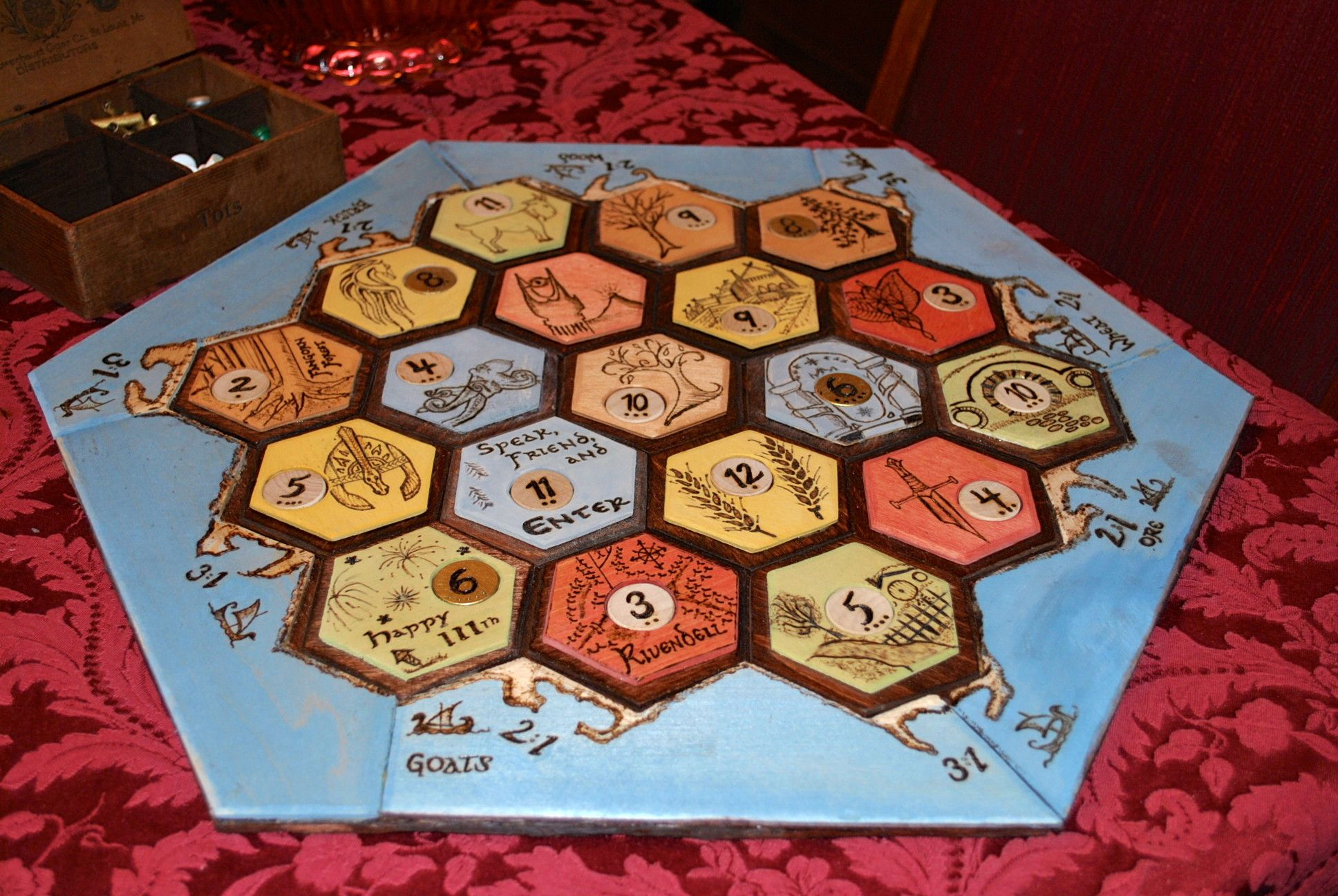 Handmade Lord Of The Rings And Or Tolkien Themed Settlers Of Catan This Is Happening Catan Lord Of The Rings Miniature Crafts