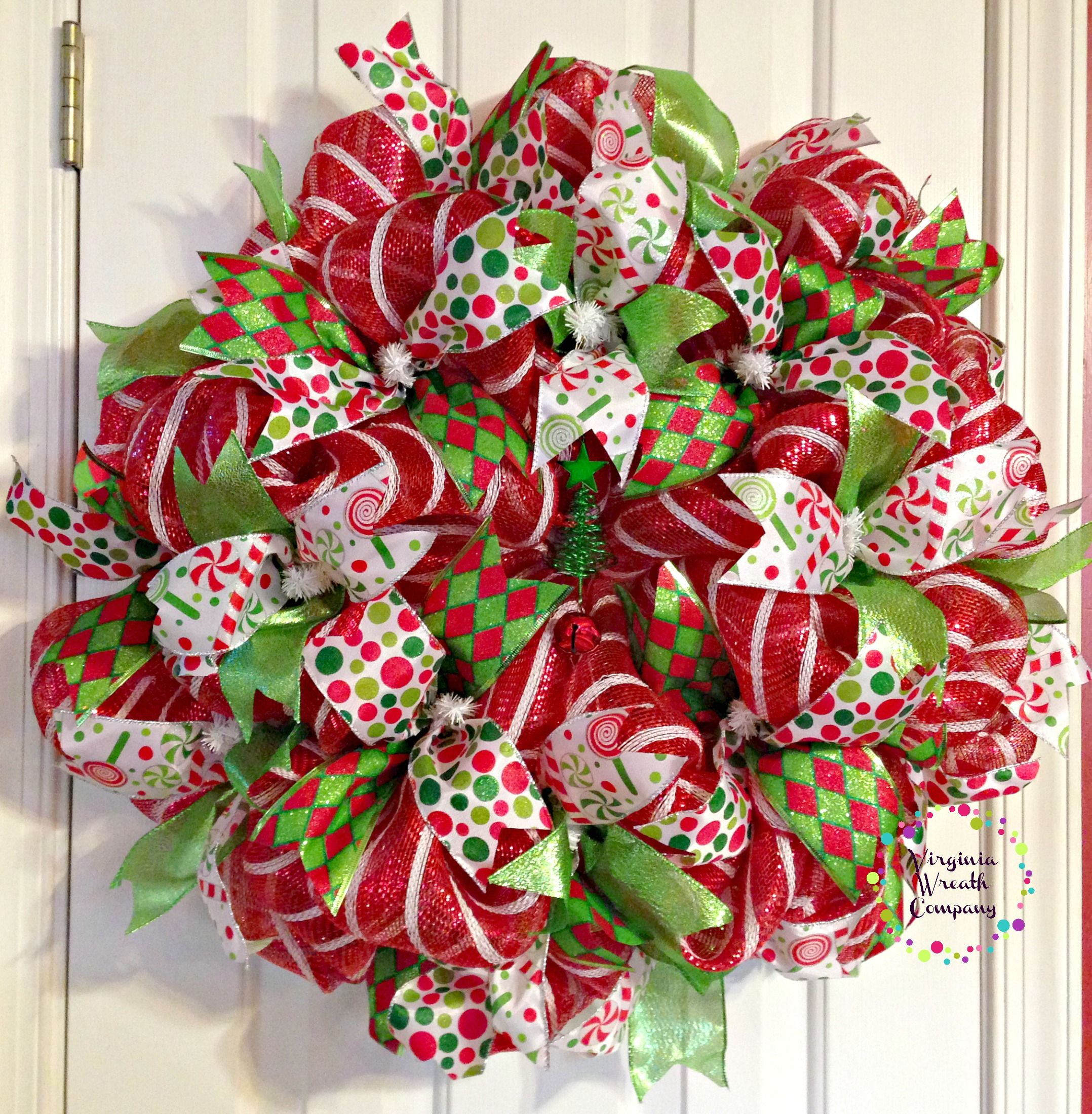 Christmas Tree Facebook Cover Photo: Red And White Deco Mesh Base Wreath Features 4 Different