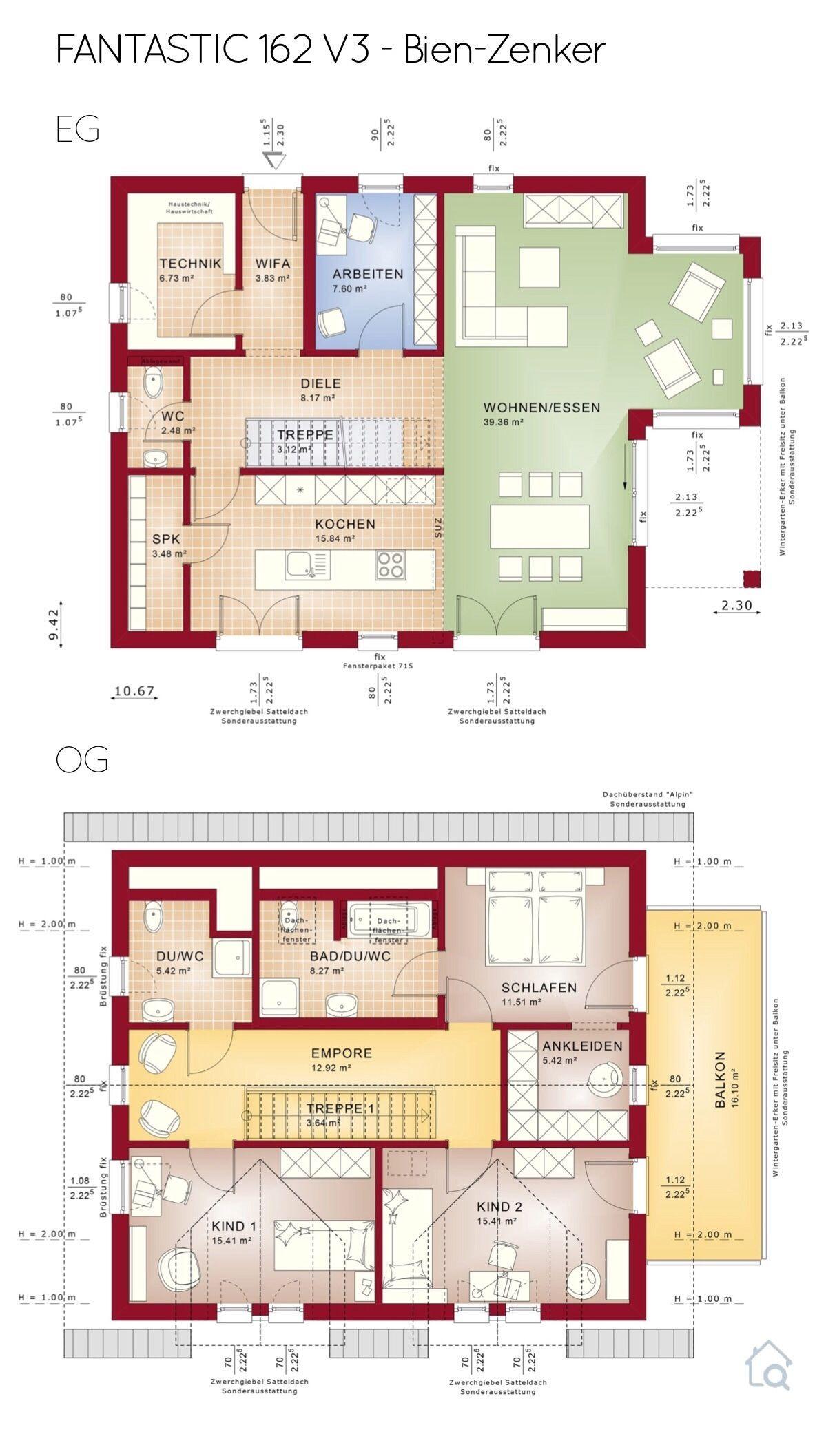 Grundriss Einfamilienhaus im Landhaus Stil mit Satteldach