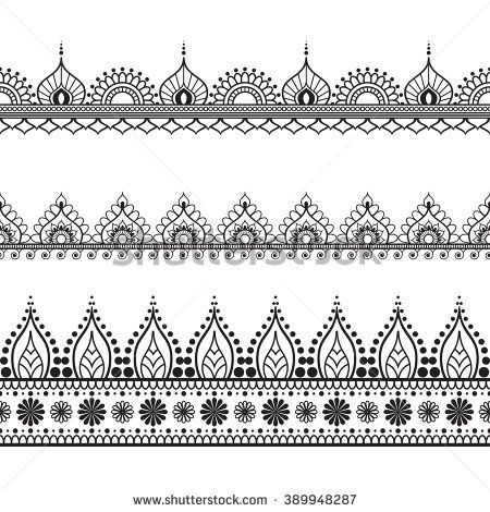 border elements in indian mehndi style for card or tattoo vector illustration isolated on white. Black Bedroom Furniture Sets. Home Design Ideas