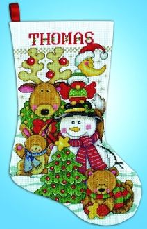 "Tobin Santa /& Kitten Stocking Counted Cross Stitch Kit-17/"" Long 18 Count"