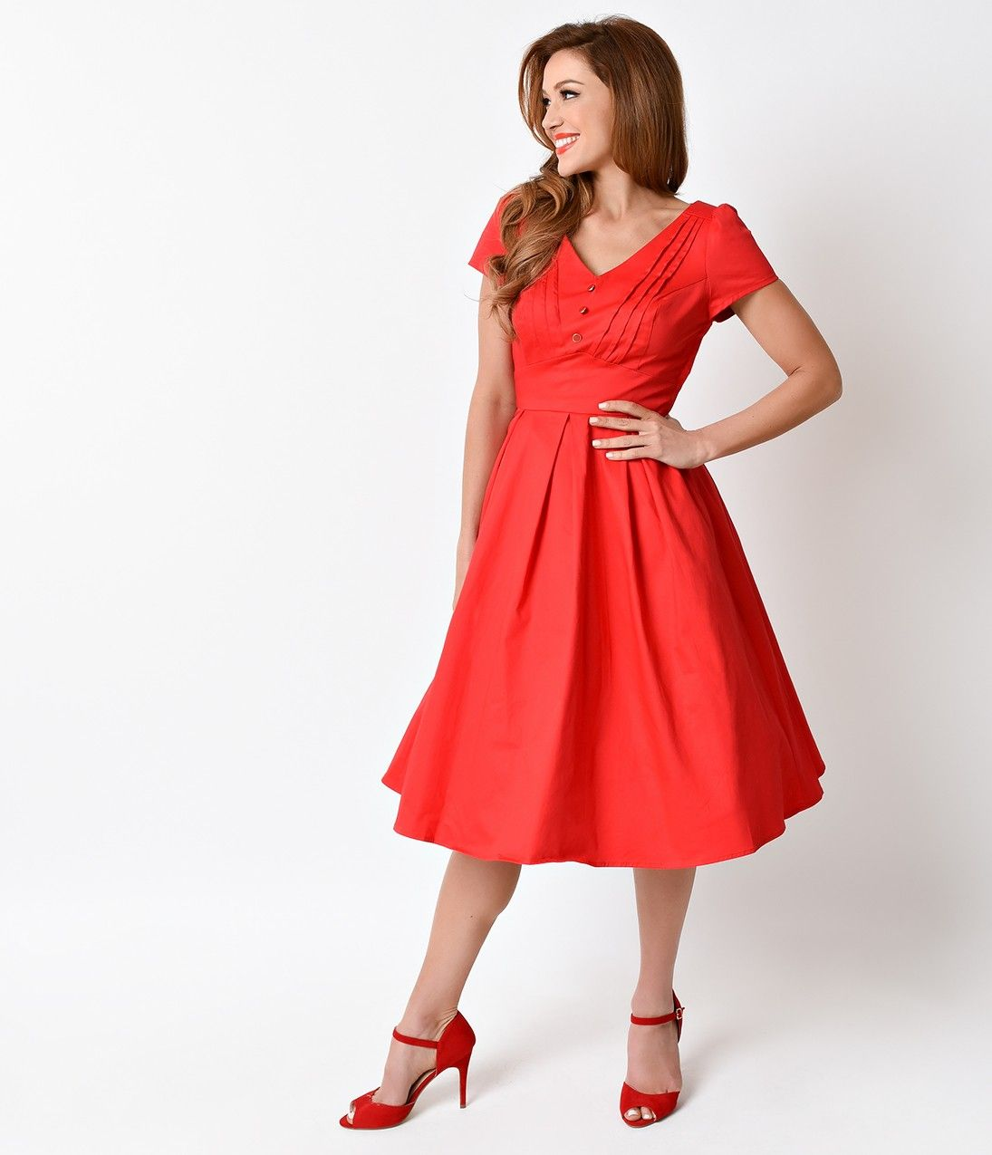 3625a7d25f1 1950s Pin Up Style Red Scarlett Cap Sleeve Stretch Swing Dress ...