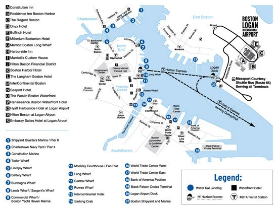 Map showing Boston water taxi stops around Boston waterfront and ...
