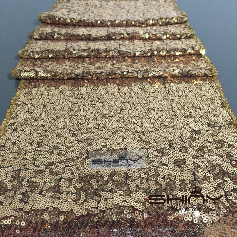 Knitted wedding decorations  Best Shiny Dark Gold Sequin Table Runner For wedding Table