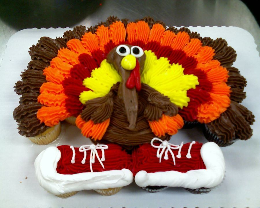 cupcake cake turkey with tennis shoes 24ct tip 22 for