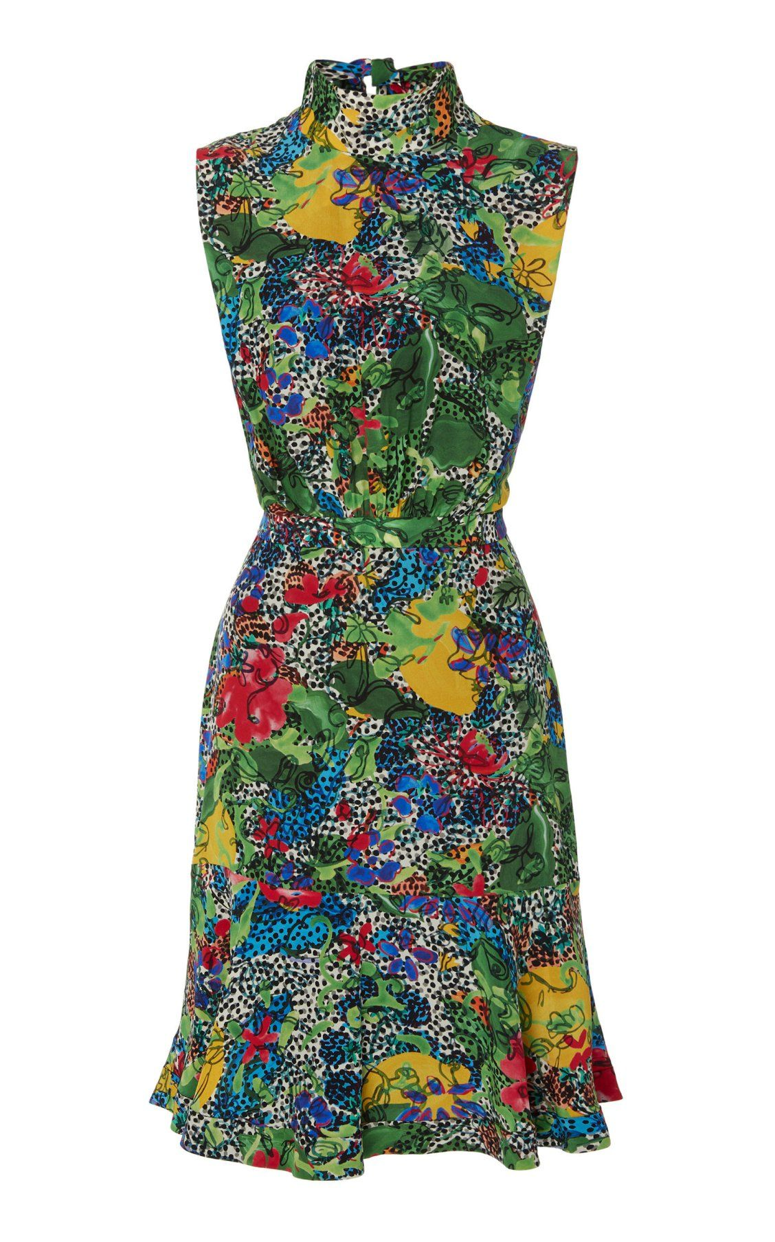 a35ffb41f2a Fleur Printed Silk Crepe De Chine Mini Dress With Halter Neck by Saloni  PF19