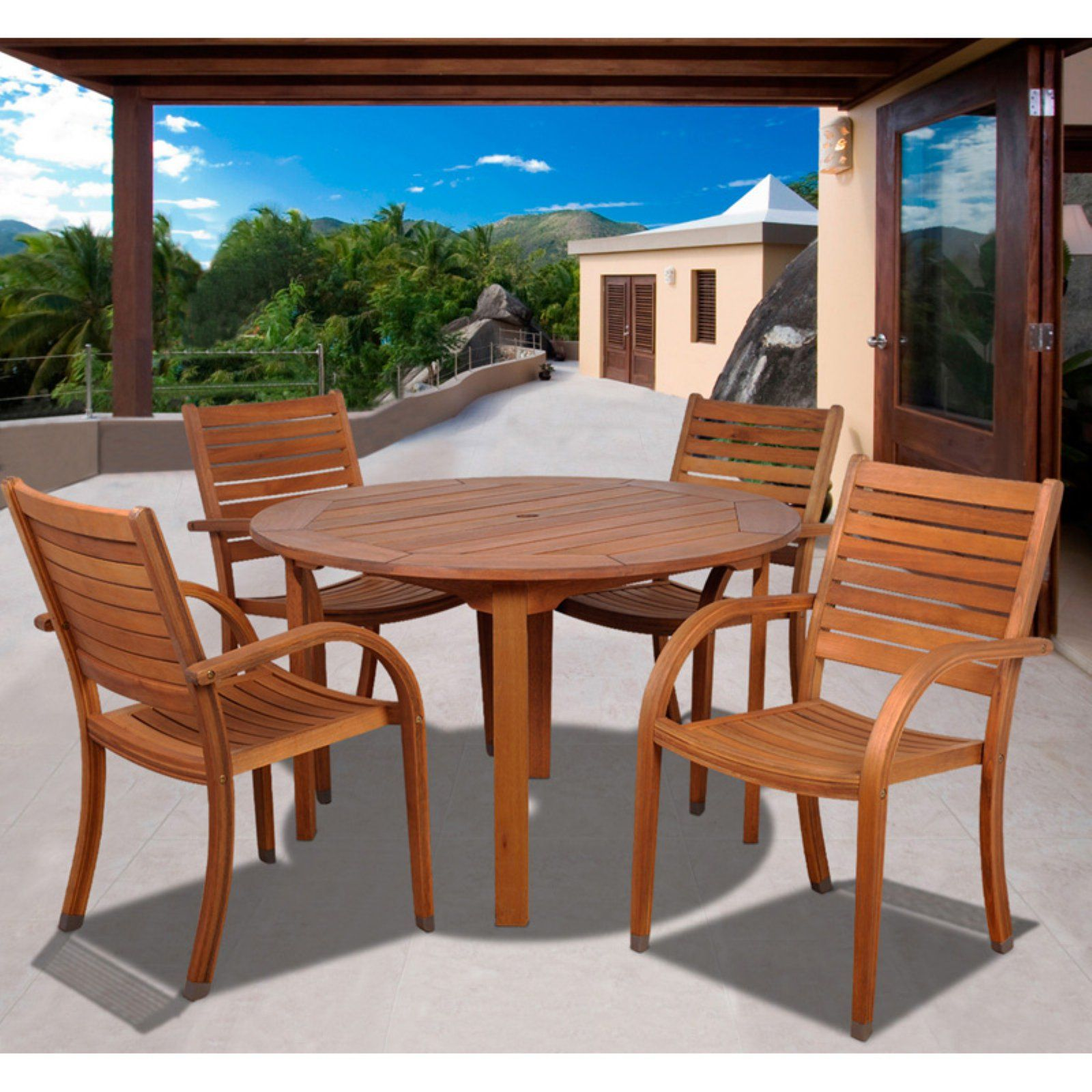 Outdoor Amazonia Kentucky 5 Piece Round Eucalyptus Patio Dining