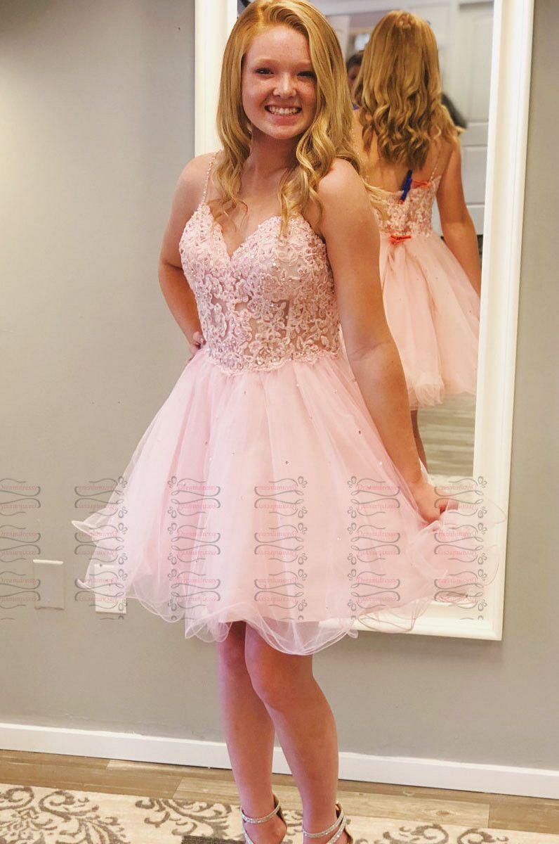 2f1521c7403 Princess Straps Short Pink Homecoming Dress