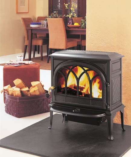 Jotul F 400 Castine Wood Stove - Jotul - Wood Stove - Wood Burning  Fireplaces - Fireplaces - Estufa Jotul F- 400 CB BBE Esmalte Azul-Negro - Estufas Leña Y