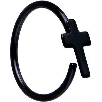 20 Gauge 5 16 Black Ip Divine Cross Nose Hoop Nose Piercing
