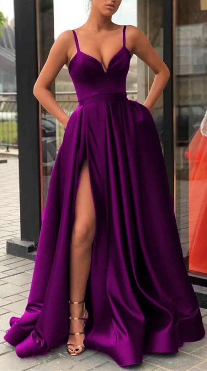 High Thigh Slit Burgundy Formal Prom Dresses with Double Straps -   19 dress Formal gala ideas