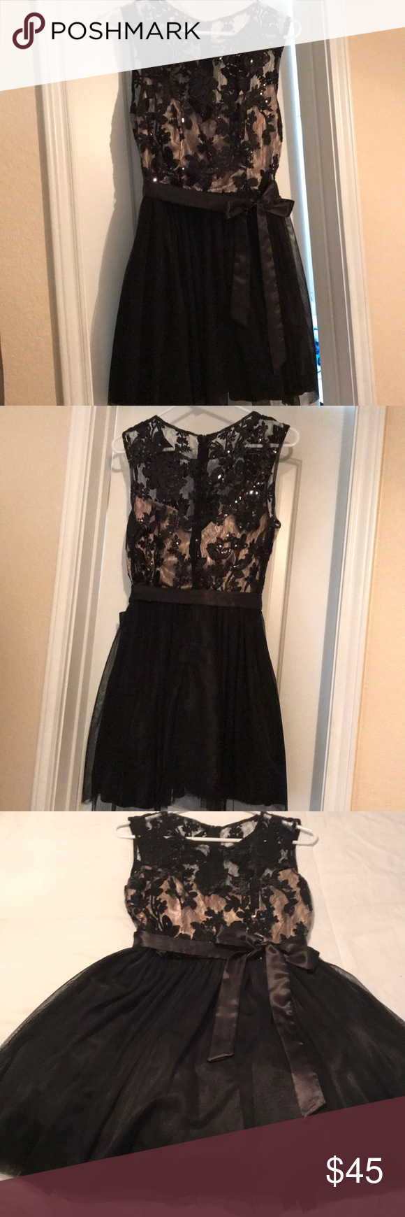 B darlin black lace dress  B DARlIN Fit and flare dress  Heart shapes Sequins and Nude