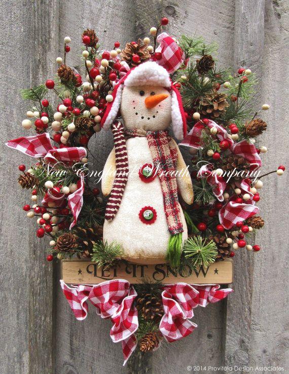 Christmas Wreath Holiday Wreath Snowman Swag Jingle Bells Holiday Door Decor Designer Country Christmas Swag Christmas Swags