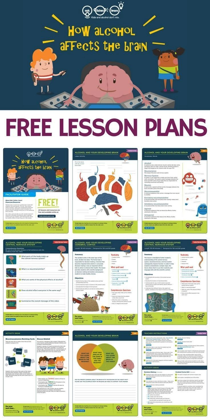 lesson plans, worksheets, activities, games and resources to teach kids about alcohol's affect on t