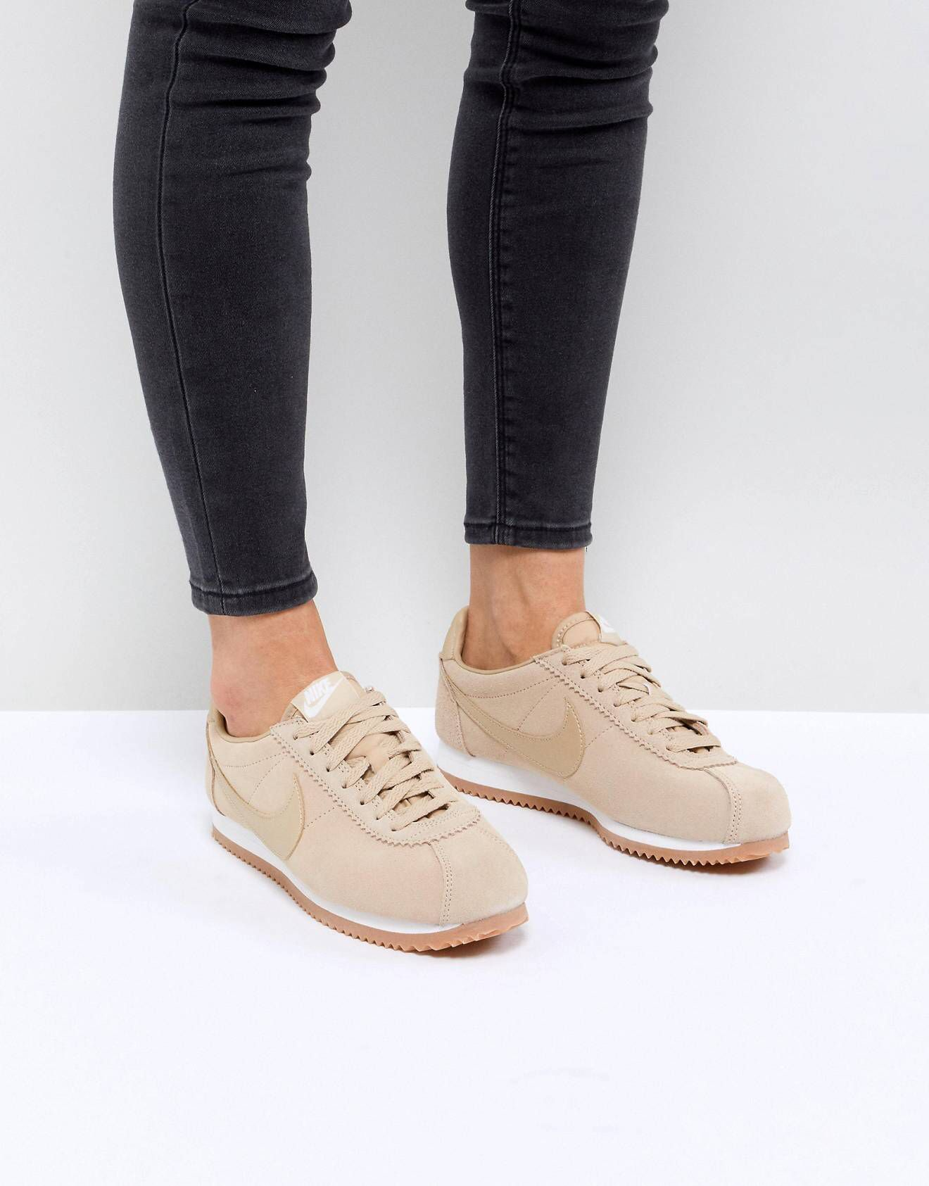 Nike Classic Cortez Sneakers In Mushroom Suede With Gum Sole  5a0894847