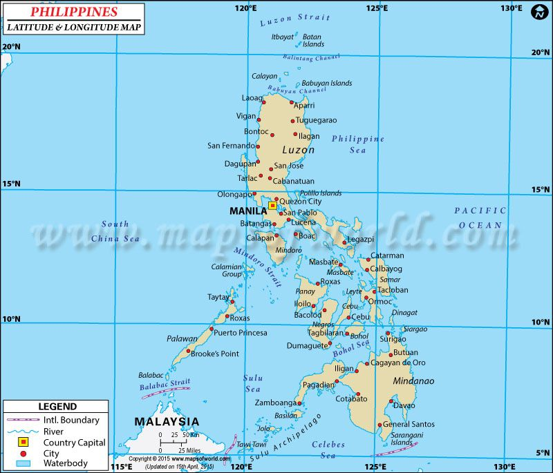 Map Of The Philippines With Latitude And Longitude Philippines Latitude and Longitude #Map | Maps & Globes in 2019