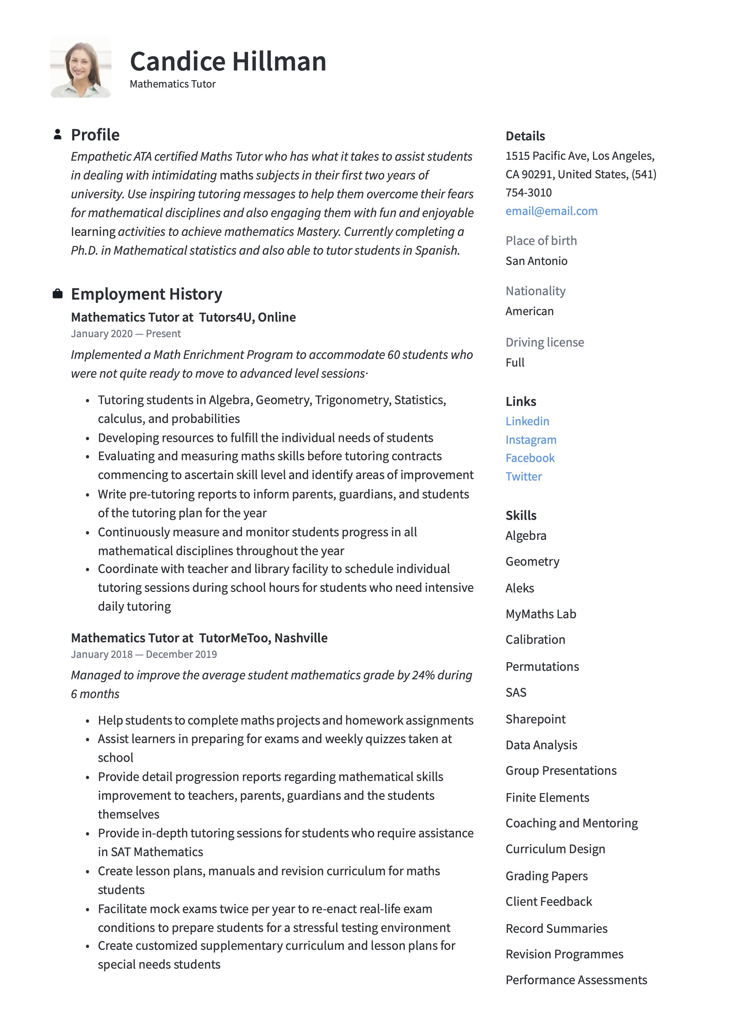 Mathematics Tutor Resume Sample Mathematics Guided Writing Math Tutor
