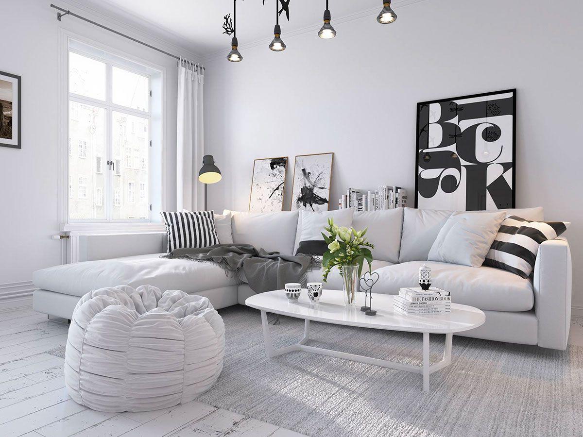 Bright scandinavian style in a modern apartment home interior design - White Scandinavian Home 3d By Sachin Mahajan Follow Gravity Home Blog