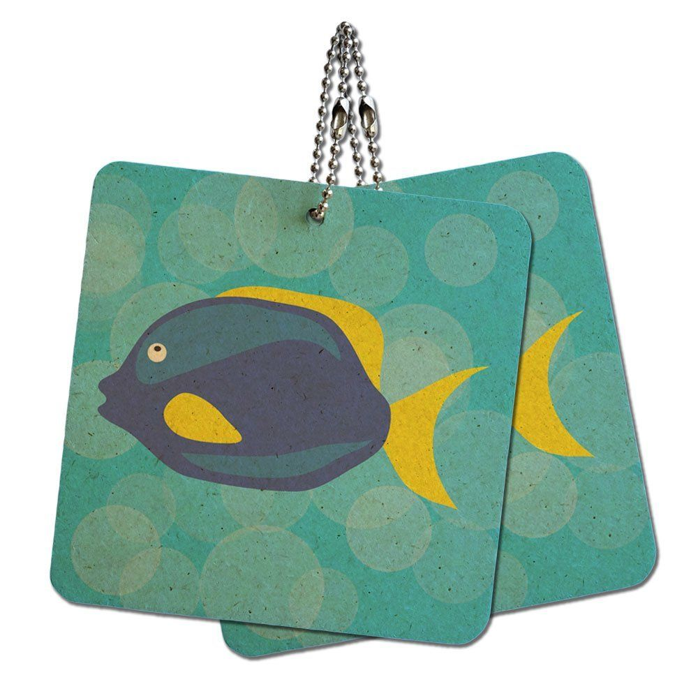 Tropical Fish Blue Yellow Wood MDF 4' x 4' Mini Signs Gift Tags ** Check out the image by visiting the link.