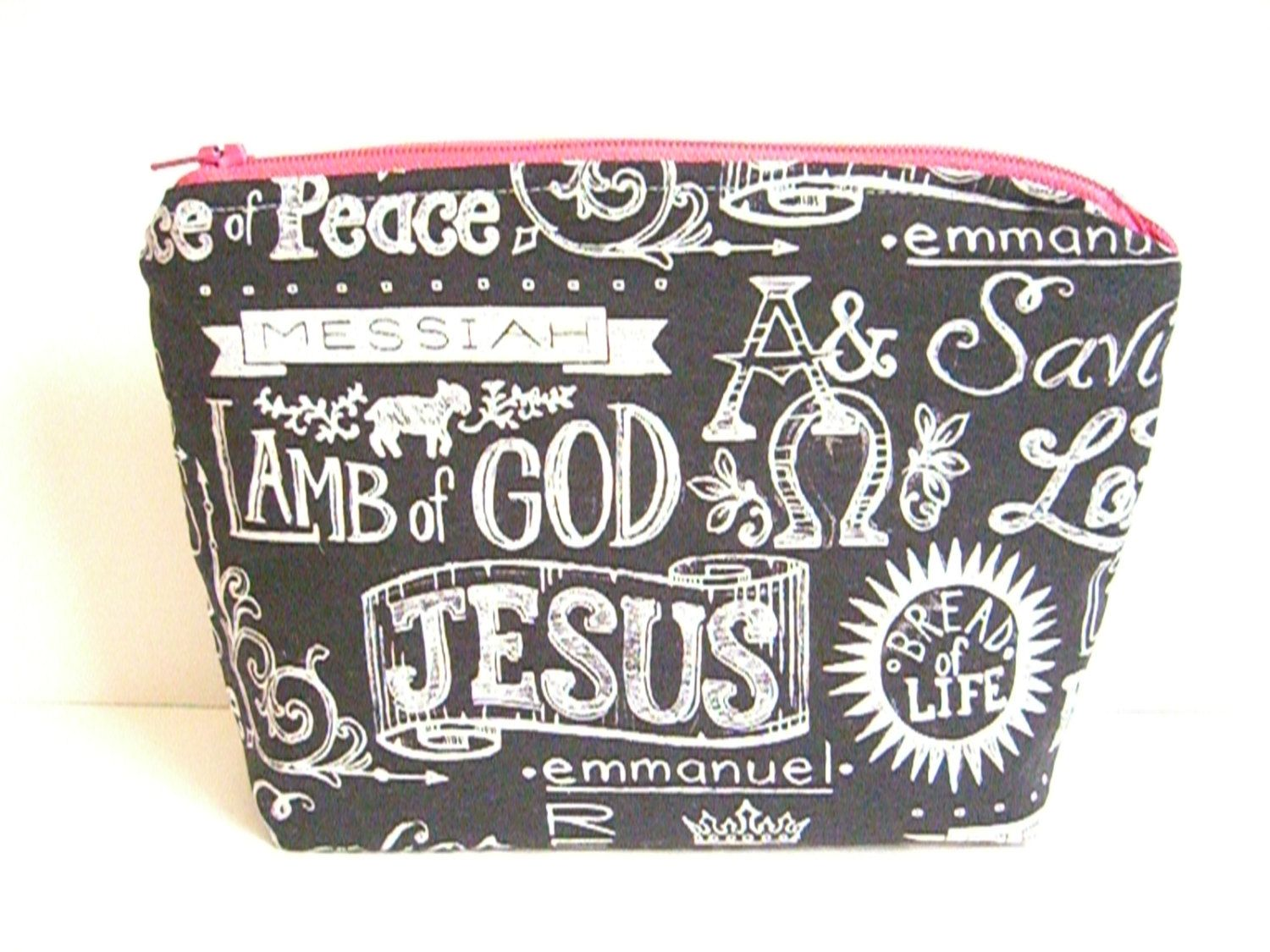 047609989e Scripture Zippered Pouch - Bible Verse Makeup Bag - Cosmetic Bag - Travel  Pouch - Pencil Case - Fabric Pouch - Handmade Pouch - Toiletry Bag by  SewSouthwest ...