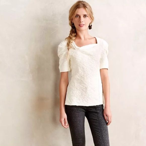 NWT Anthropologie Cedar street ivory top The flattering neckline and sleeve detail make this a standout...more of a top than tee...ribbed cuffs...loose fit...color is pale ivory not white... PRICE IS FIRM UNLESS BUNDLED NO TRADES! Anthropologie Tops