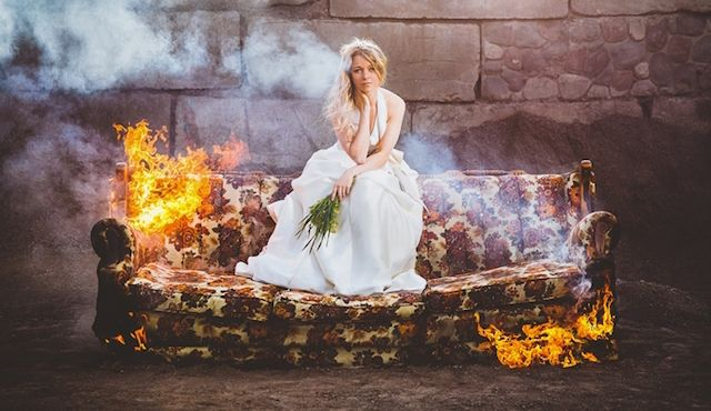 Bridal Photos On A Burning Couch Make Statement About Divorce Culture