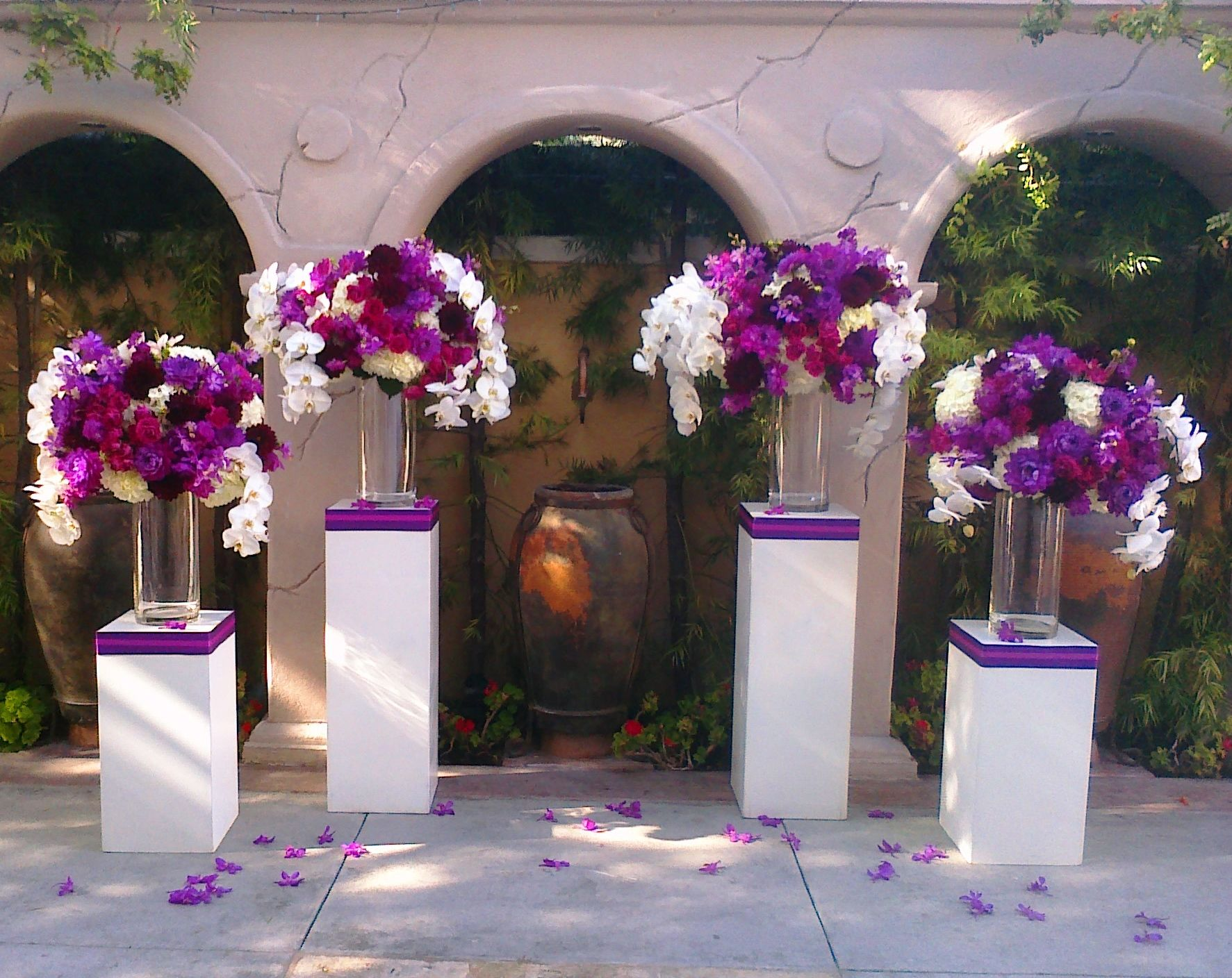 gorgeous purple flowers at the altar ceremony flowers wedding decor ...