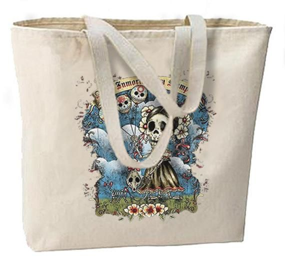 Amor Inmortal Sugar Skulls New Large Canvas Tote Bag, Day of the Dead
