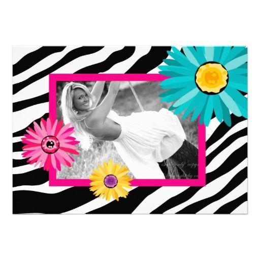 Bachelorette Party Invite Daisy Zebra Pink Blue Ye
