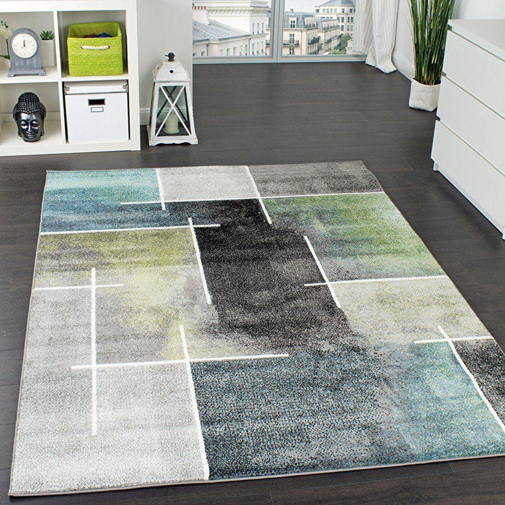 Designer Teppich Kariert Modern Trendig Meliert Eyecatcher In Grau Türkis  Grün,