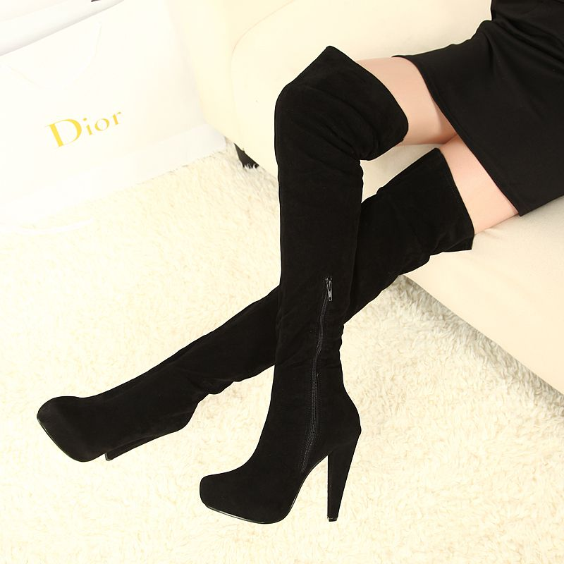 2013 new booties for womens thigh high boots black high heels over the knee boots zipper platform fashion shoes large size us 10 $48.80