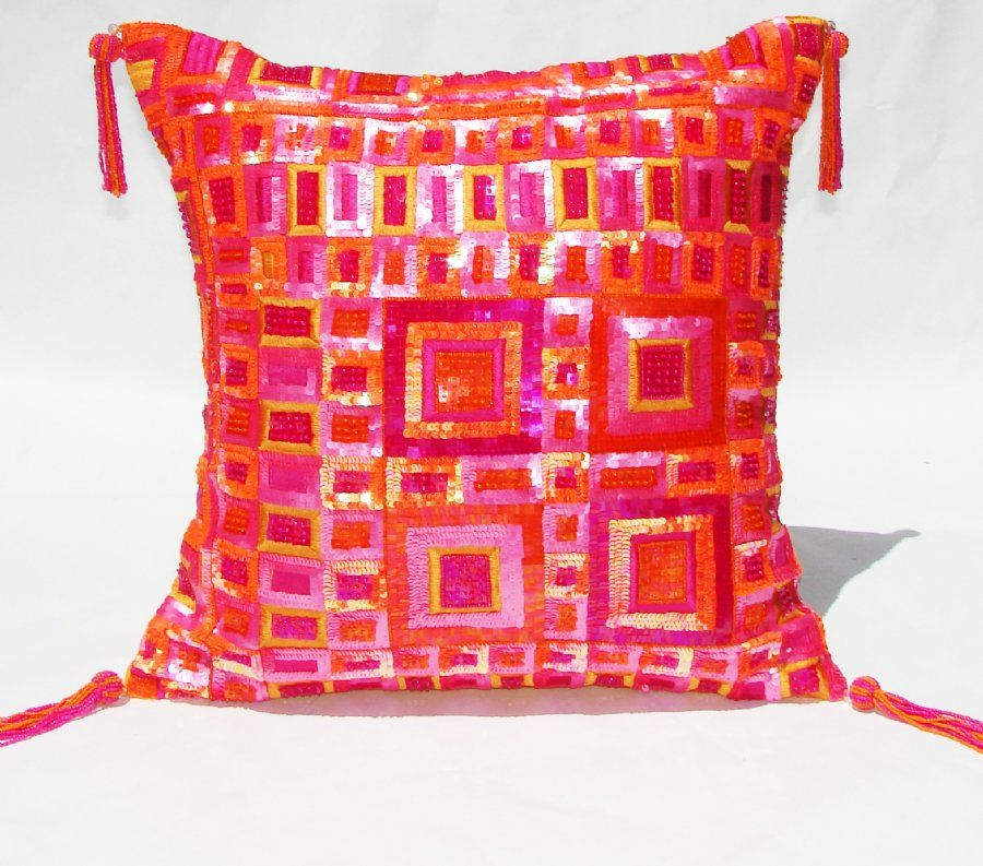Hot Pink And Orange Decorative Pillow PC40HPOR 40 Bright Extraordinary Bright Orange Decorative Pillows