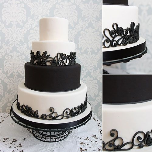 Black And White Vintage Wedding Cakes
