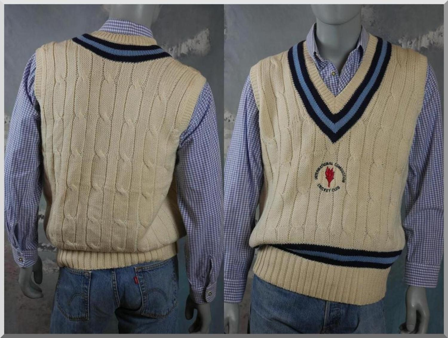 British Vintage Cricket Sweater Vest Cable Knit Cream Wool Pullover Eton Cambridge Collection Mad Vintage Clothing Online Vintage Outfits Steampunk Jacket