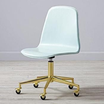 Leather Mint Green And Gold Desk Chair Slaapkamer Kinderen