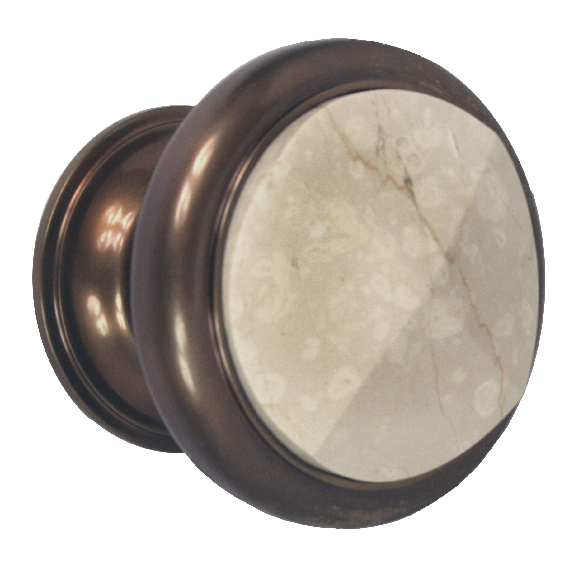 Front Door Knob, Aged Brass With Carrara Marble.