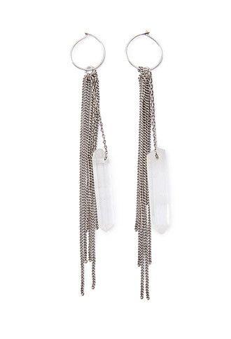 Faux Quartz Chain Drop Earrings Forever 21 1000173251