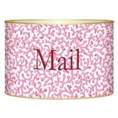 Pink Waverly Scroll Decoupage Mail Box-Available in Two Different Sizes $62. The Well Appointed Home