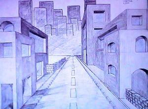 Kunsterziehung zentralperspektive scluchten in der for 3d raum zeichnen