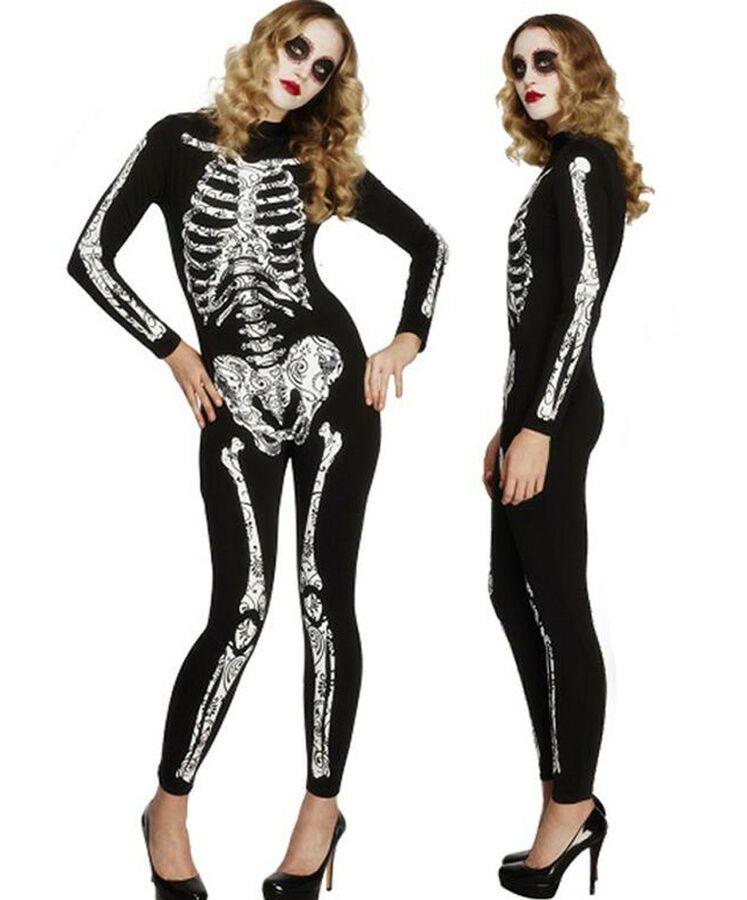 Adult Ladies Day Of The Dead Skeleton Bone Fancy Dress Halloween Costume Tights