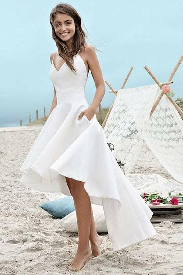 4a127fc113 Simple White V-Neck Sleeveless Spaghetti Straps High Low Beach Wedding Dress  with Pockets - Ombreprom